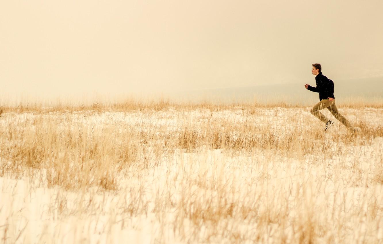 Photo wallpaper winter, field, grass, snow, running, male
