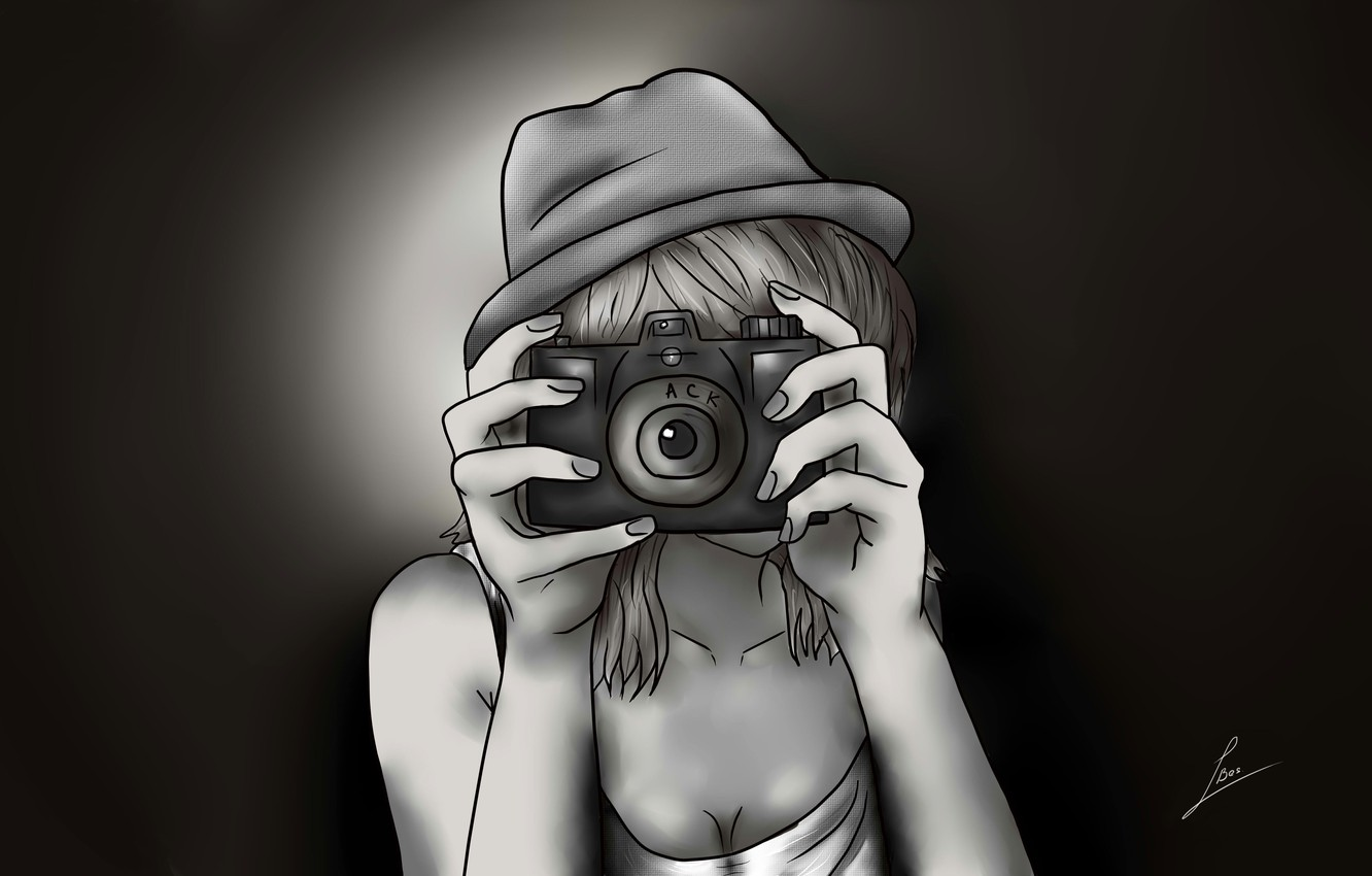 Photo wallpaper girl, figure, hat, anime, hands, the camera, comics