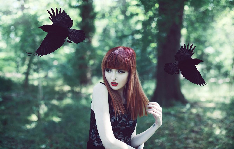 Photo wallpaper girl, birds, crows, redhead