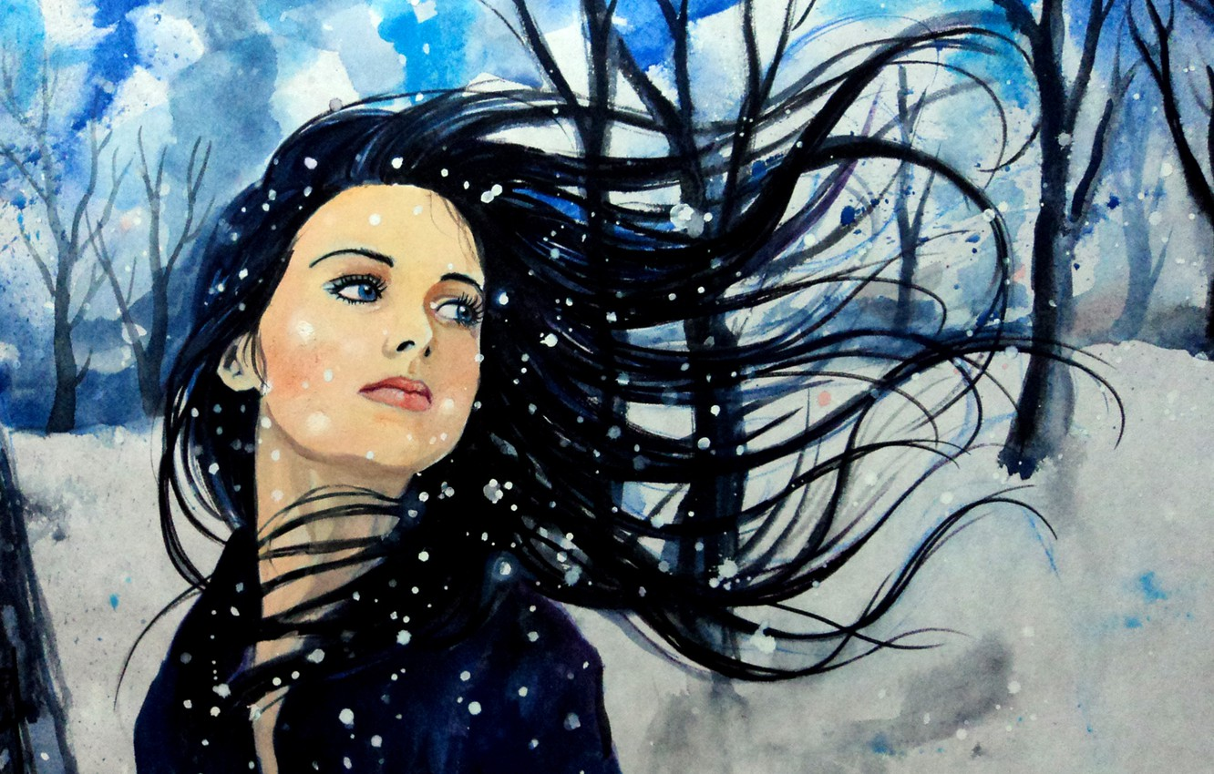 Photo wallpaper winter, the sky, look, girl, snow, trees, face, the wind, hair, art, blue eyes, painting