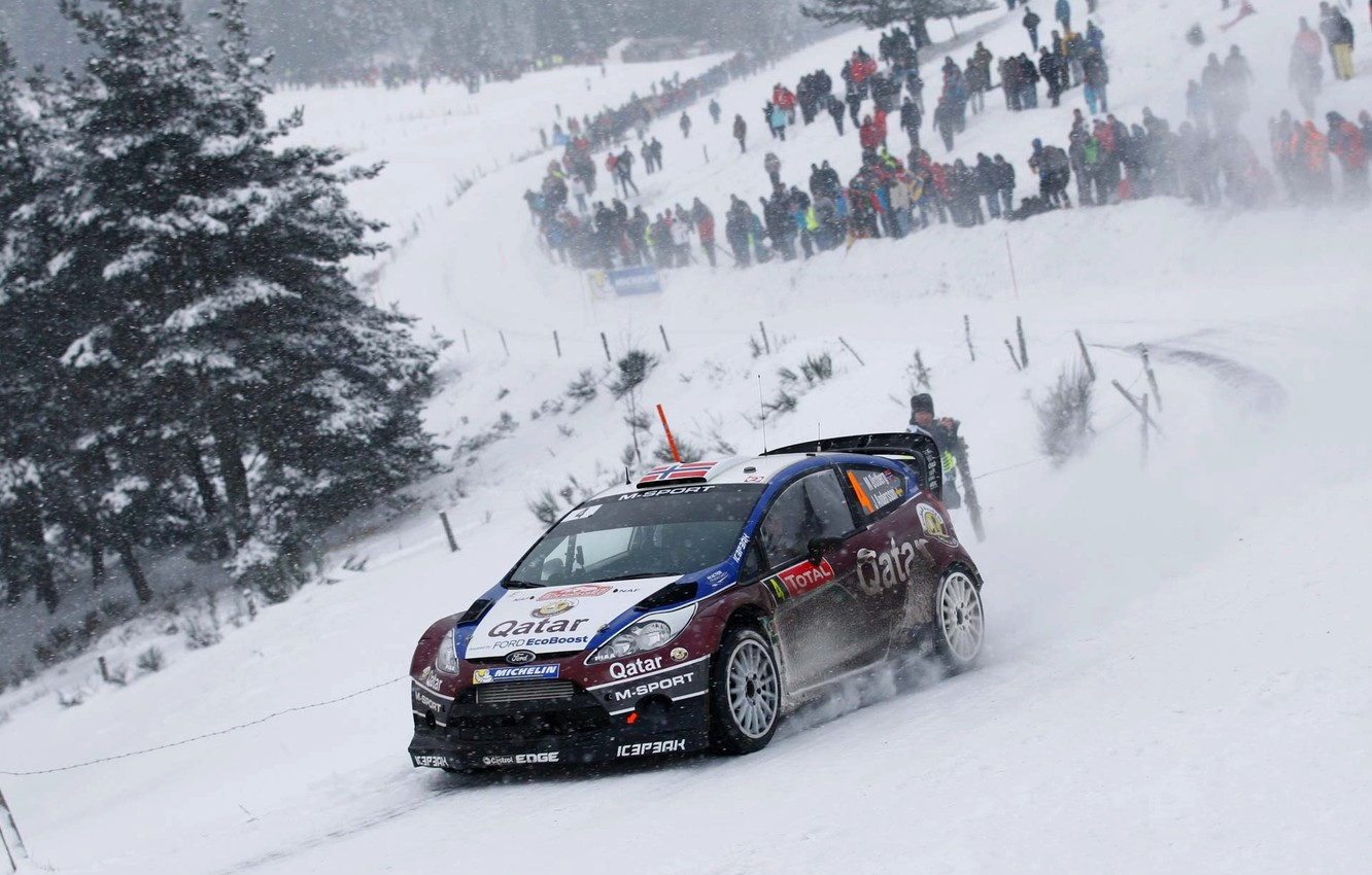 Photo wallpaper Ford, Winter, Snow, Ford, Race, WRC, Rally, Fiesta, Fans