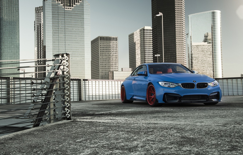 Photo wallpaper BMW, Blue, Front, Vorsteiner, Sun, Widebody, Photoshoot, GTRS4