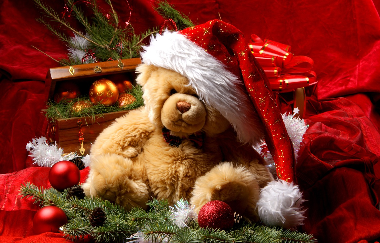 Photo wallpaper decoration, New Year, Christmas, bear, Santa, Christmas, New Year, decoration