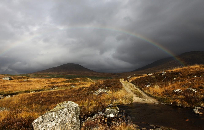 Photo wallpaper the sky, clouds, grey, rainbow, Scotland