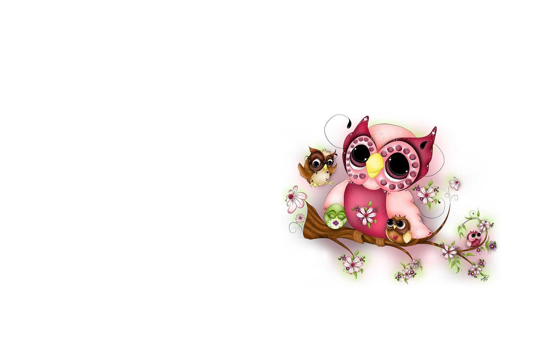 Photo wallpaper owl, branch, art, children's
