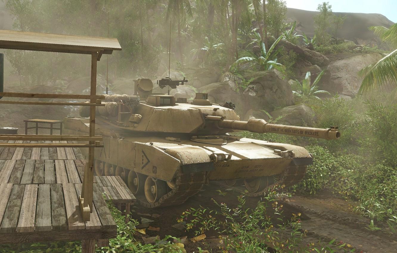 Photo wallpaper palm trees, tank, Crysis, hut