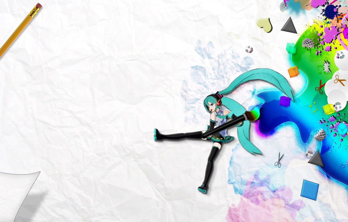 Photo wallpaper paper, paint, drawings, pencil, vocaloid, hatsune miku, brush