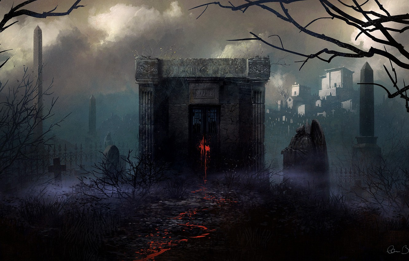 Photo wallpaper trees, red, trail, cross, art, cemetery, tombstones, love, the crypt, gloom, Christopher Balaskas, Clancy