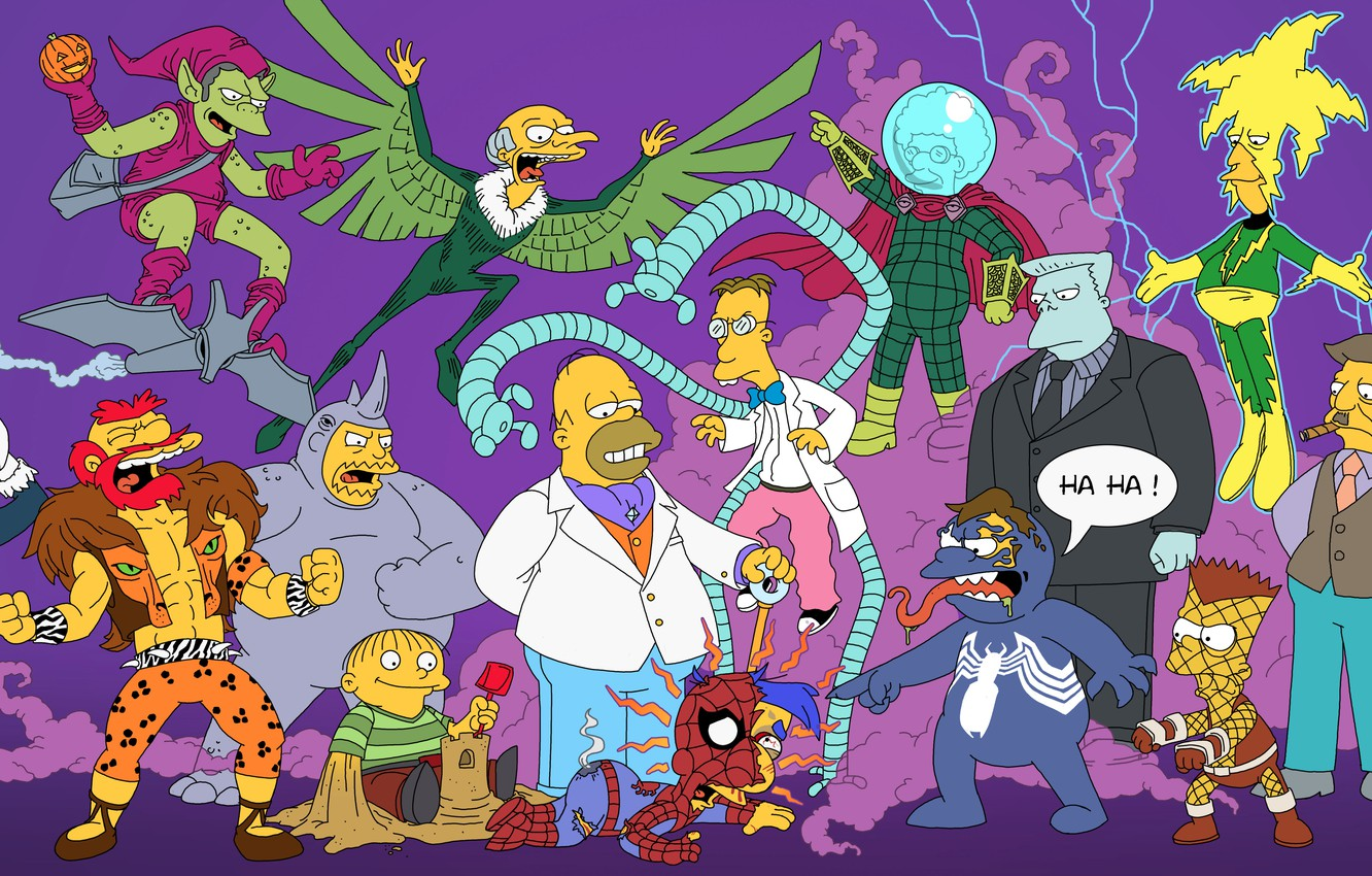 Photo wallpaper The simpsons, Simpsons, Superheroes, The Simpsons, Spider-Man, Spider-Man, Superheroes