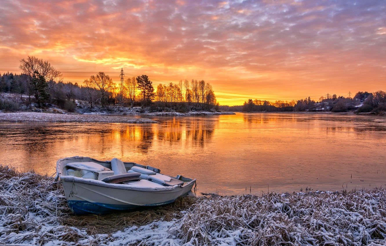 Photo wallpaper autumn, sunset, river, boat