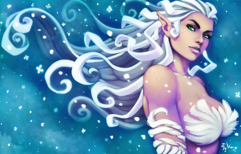 Photo wallpaper chest, look, girl, hair, fantasy, ears, art, snow queen