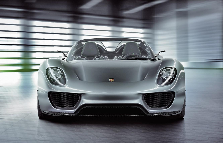 Photo wallpaper Concept, lights, Porsche, the concept, front view, Spyder, 918