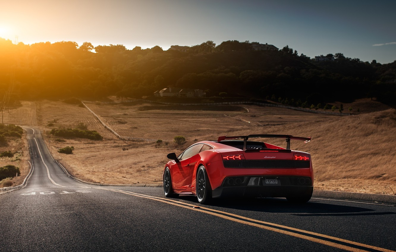 Photo wallpaper Lamborghini, Red, Gallardo, Sun, Road, LP570-4, Supercar, Spoiler, Rear, Super Trophy