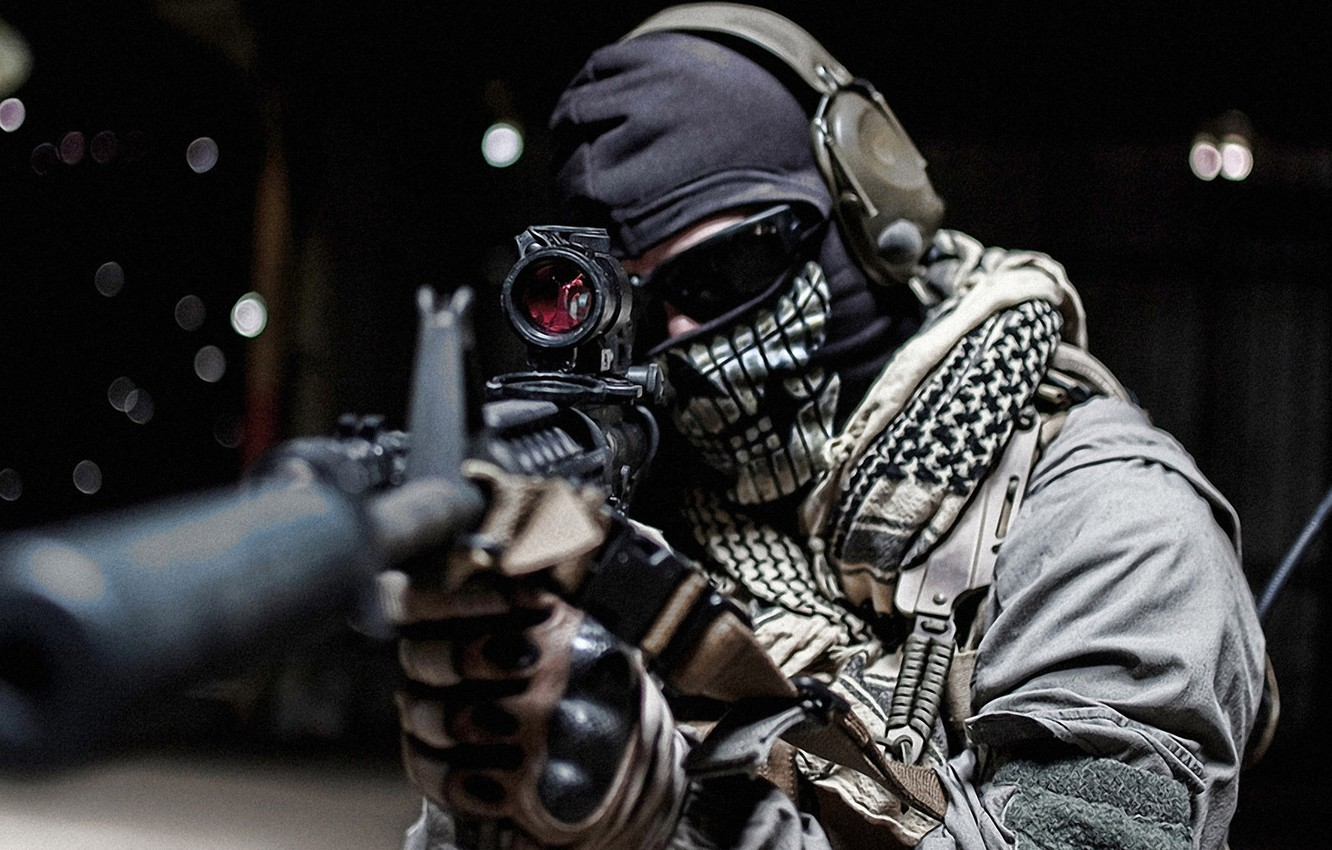 Photo wallpaper glasses, soldiers, Ghost, call of duty, rifle, muffler