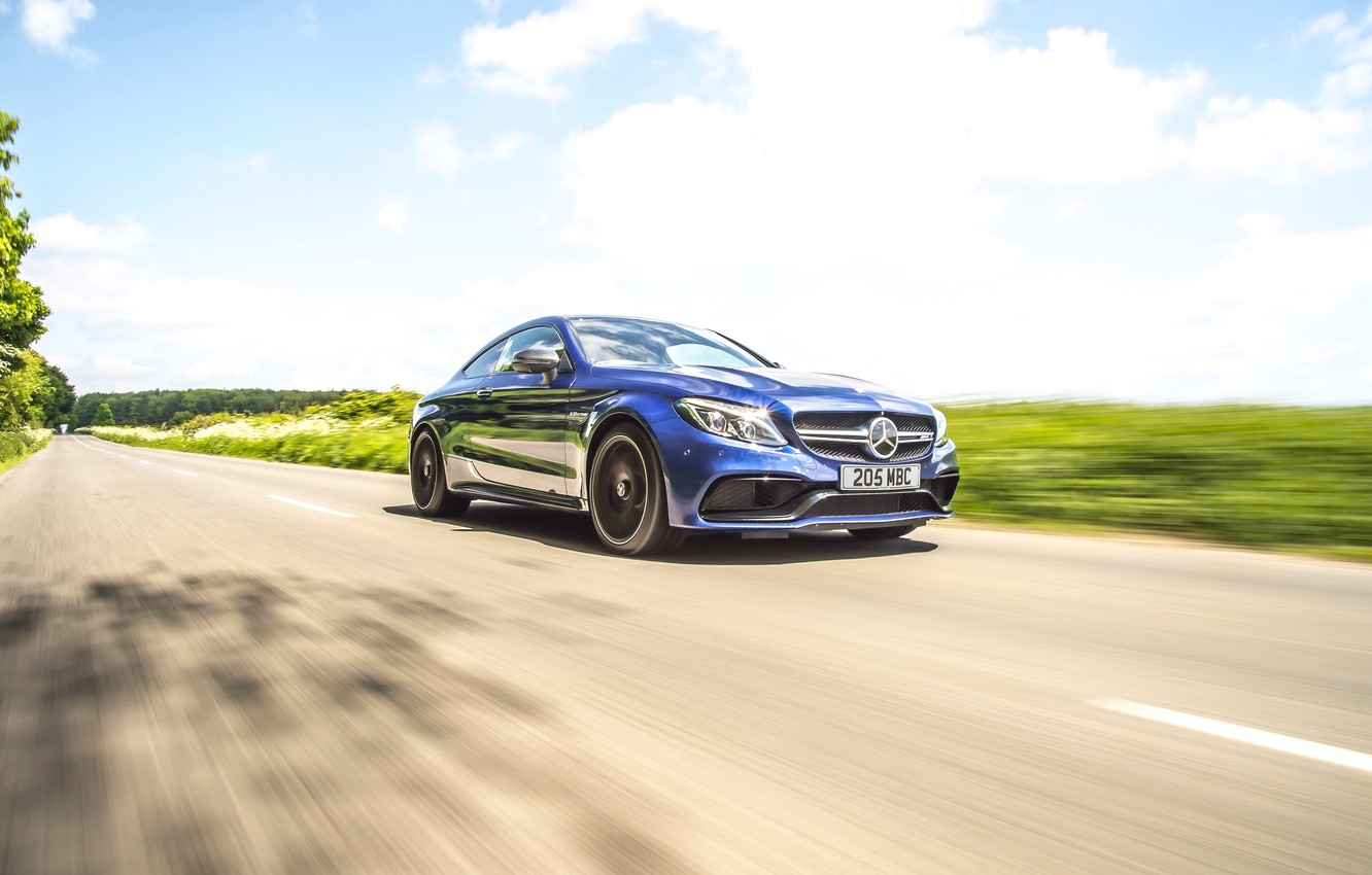Photo wallpaper road, blue, coupe, Mercedes-Benz, speed, car, Mercedes, AMG, Coupe, C 63