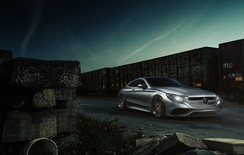 Photo wallpaper Mercedes-Benz, Car, AMG, Coupe, Train, Wheels, S63, ADV.1, 2015