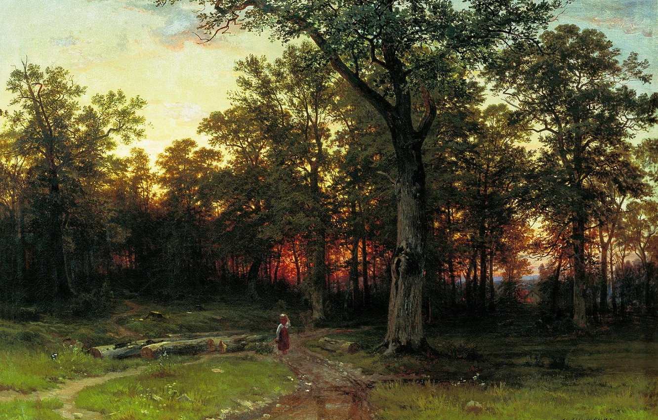 Photo wallpaper picture, Shishkin, The forest in the evening