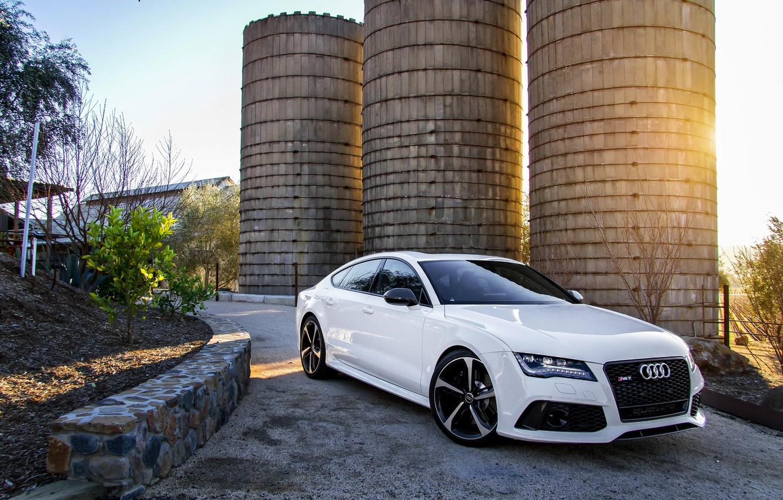 Photo wallpaper Audi, Audi, white, white, front, RS7