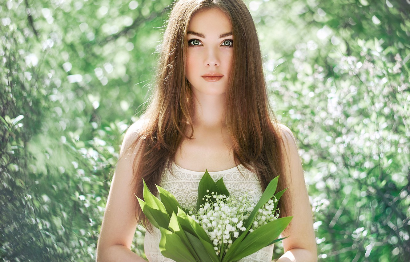 Photo wallpaper eyes, face, background, hair, lilies of the valley, look. bouquet