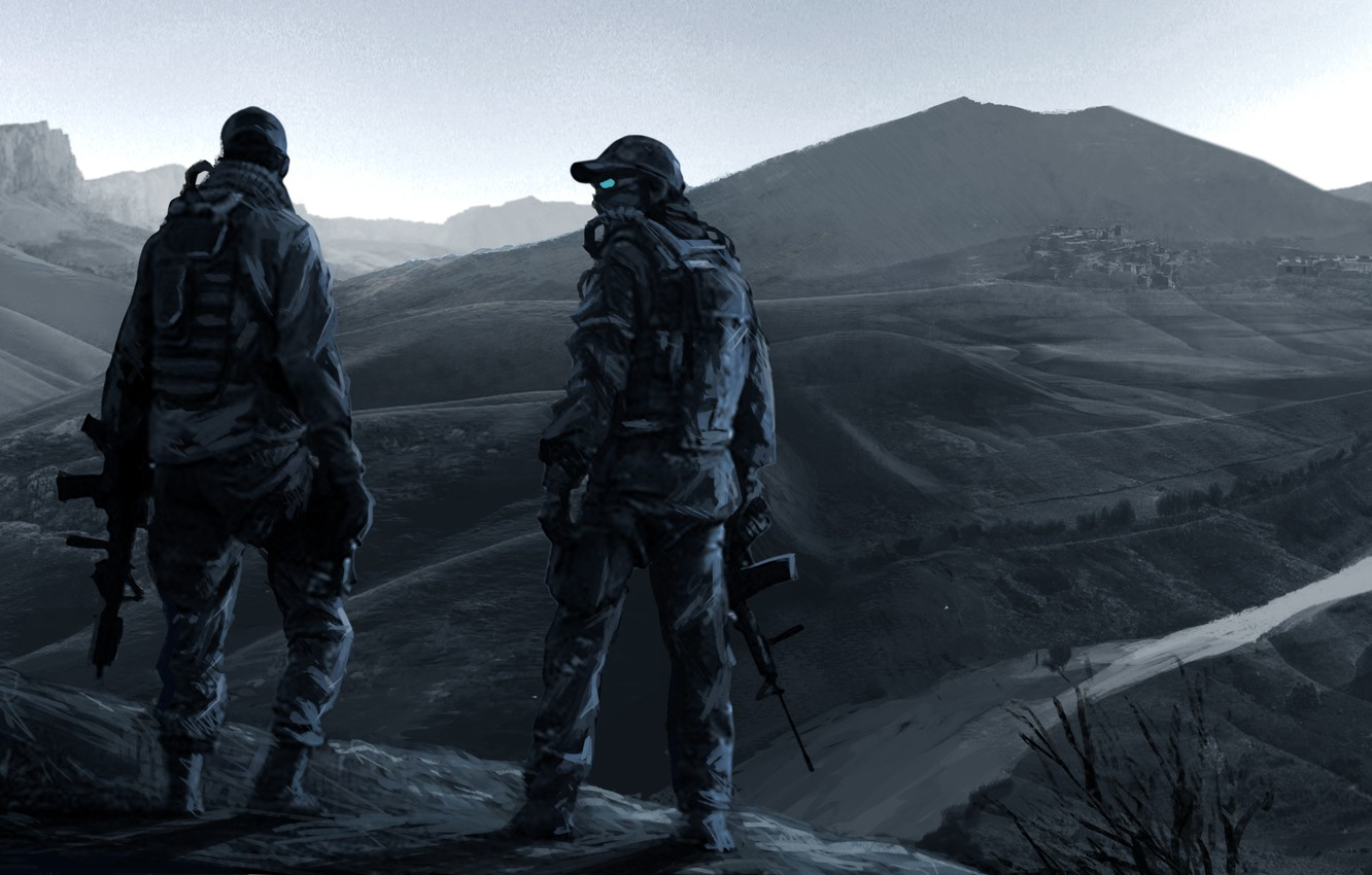 Photo wallpaper mountains, war, soldiers, operation, Ghost Recon, pustosh