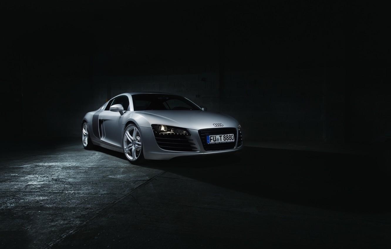 Photo wallpaper Audi, Dark, Front, Supercar, Silver, Ligth, Motor