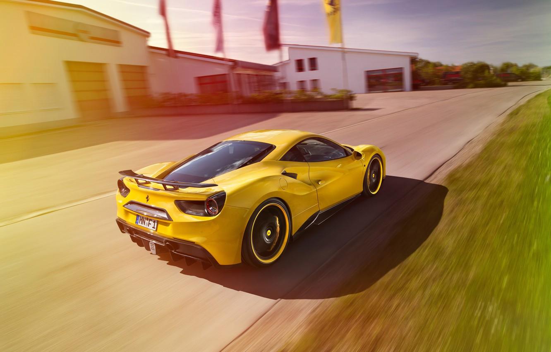 Photo wallpaper yellow, tuning, Ferrari, car, Ferrari, Rosso, Novitec, 488 GTB, novitek