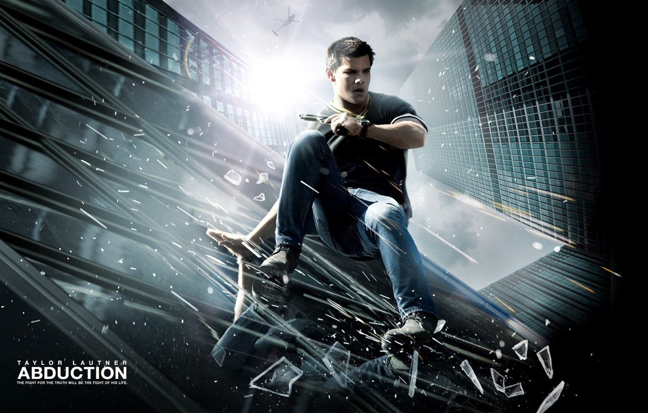 Photo wallpaper roof, glass, gun, helicopter, Chase, Taylor Lautner