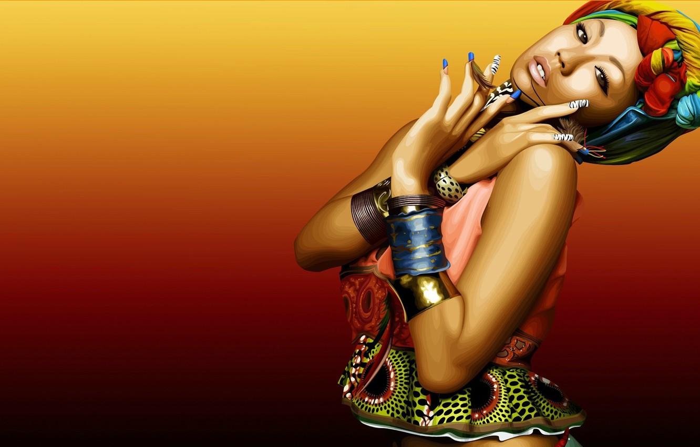 Photo wallpaper girl, face, style, background, bracelets, nails, manicure, black