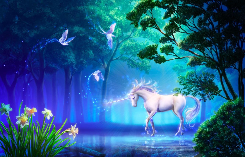 Photo wallpaper forest, flowers, birds, lake, horse, art, unicorn, daffodils, takaki