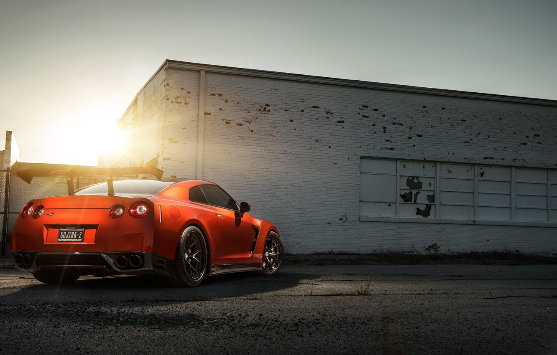 Photo wallpaper GTR, Orange, Nissan, Sun, AMS, Performance, Widebody, Rear