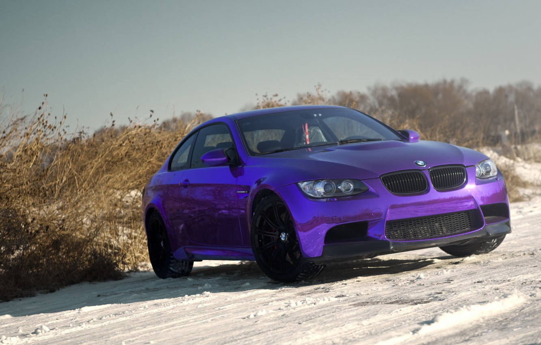 Photo wallpaper BMW, Purple, tuning, Chrome