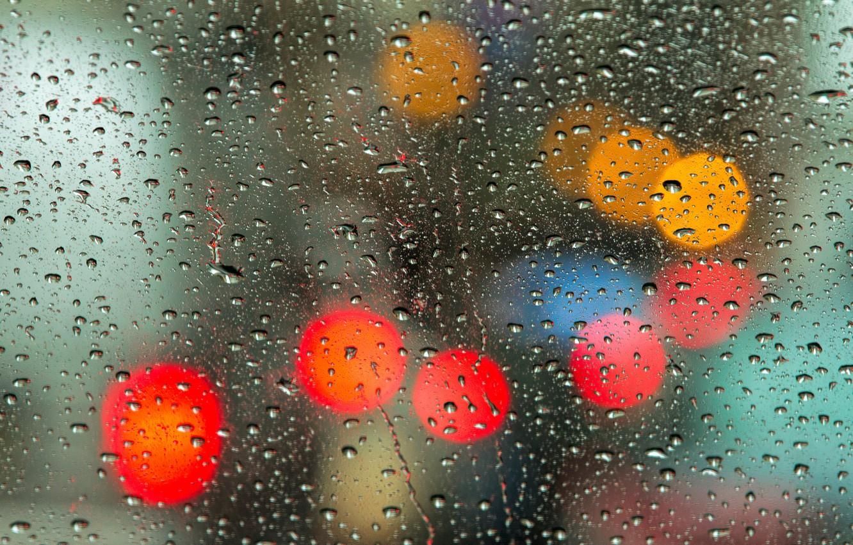 Photo wallpaper glass, drops, light, bokeh, globes