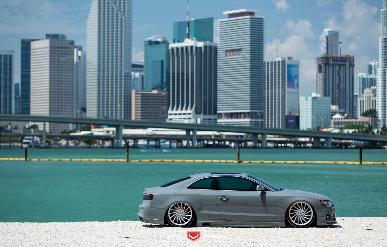 Photo wallpaper machine, auto, the city, Audi, Audi, wheels, drives, auto, Vossen Wheels