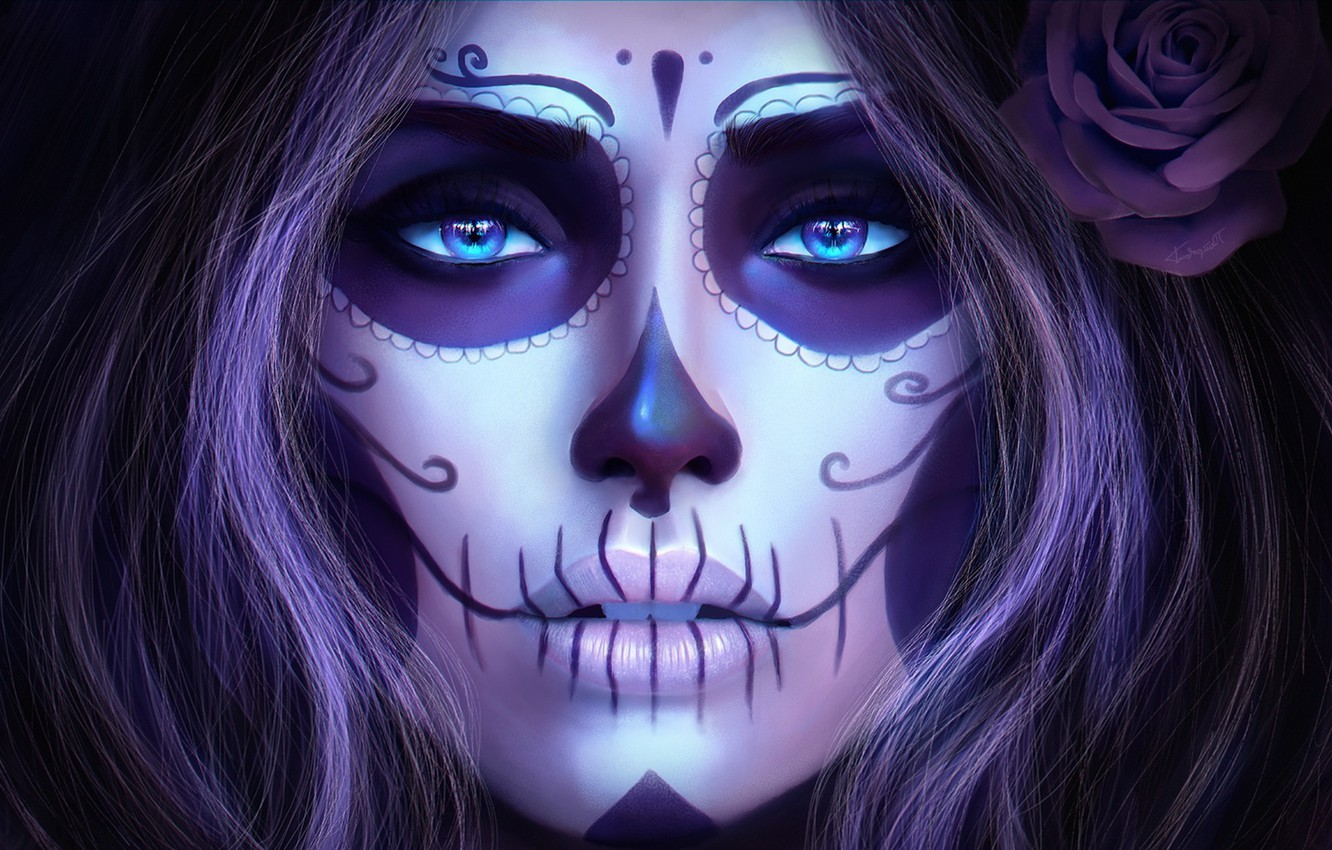 Photo wallpaper look, girl, face, art, Day of the Dead