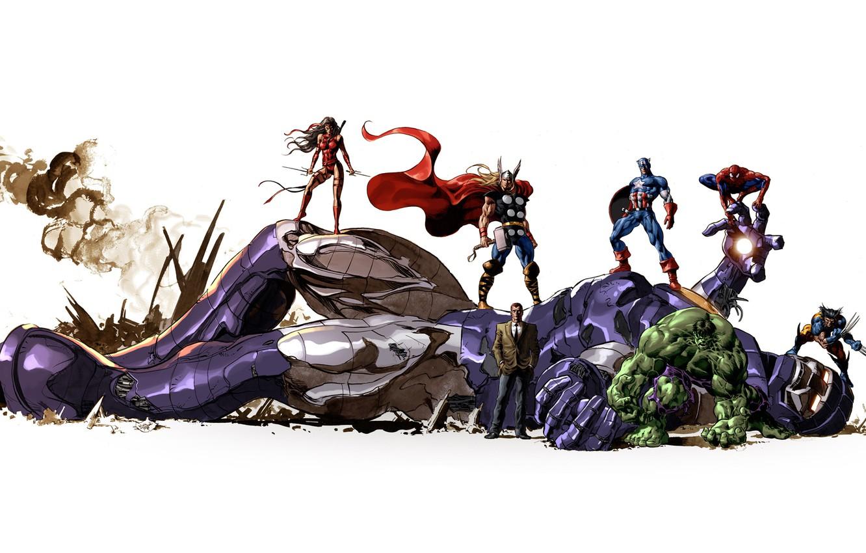 Photo wallpaper robot, characters, wolverine, Hulk, marvel, comic, Thor, super heroes, comics, captain america, captain America, spider-man, …