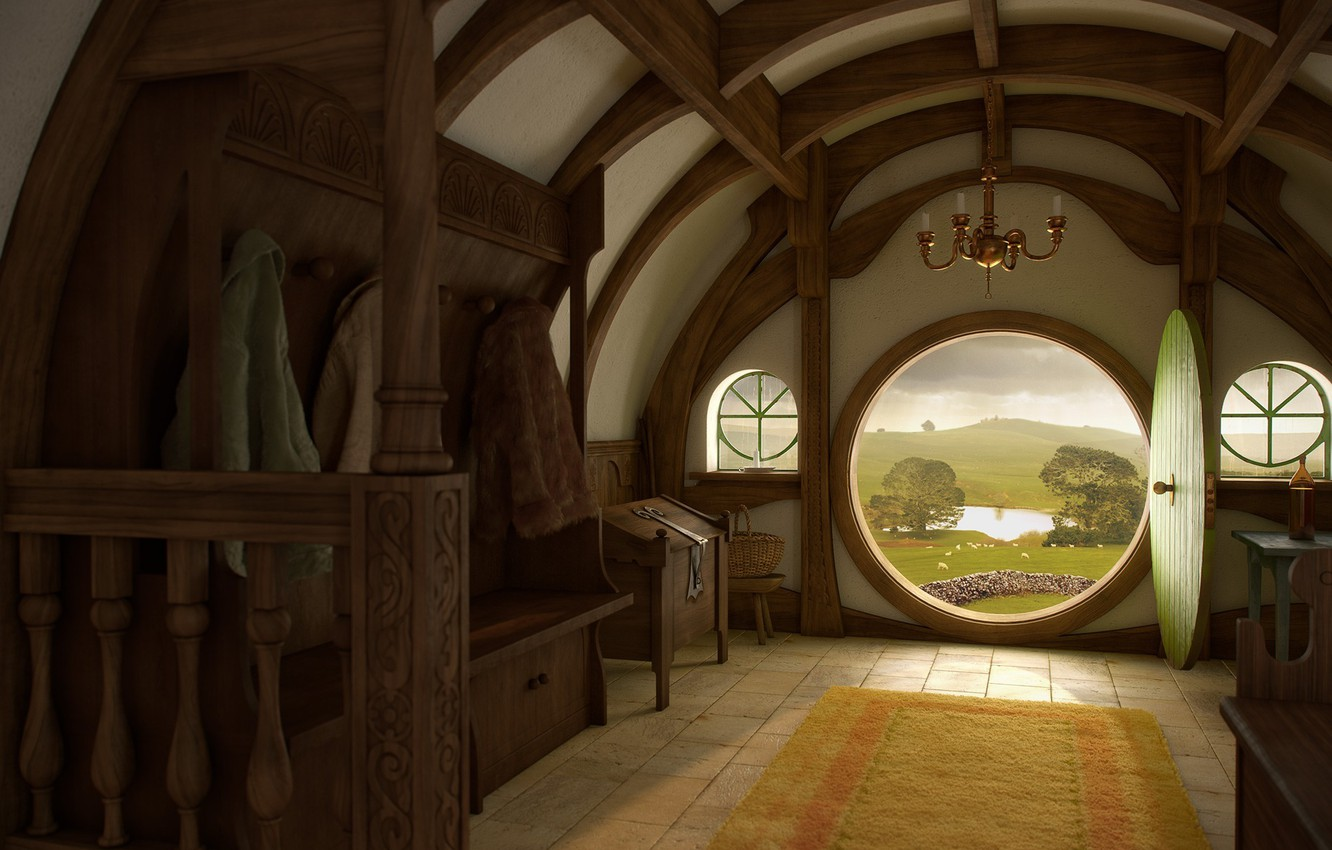 Photo wallpaper house, interior, Nora, the door, the Lord of the rings, art, the hobbit, lord of …