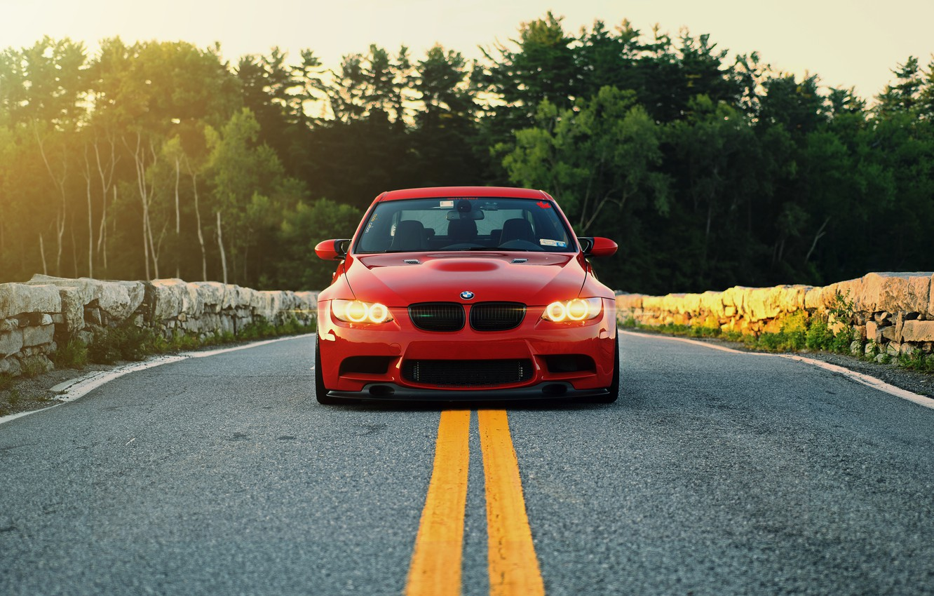 Photo wallpaper red, lights, bmw, BMW, red, the front, e90, running lights