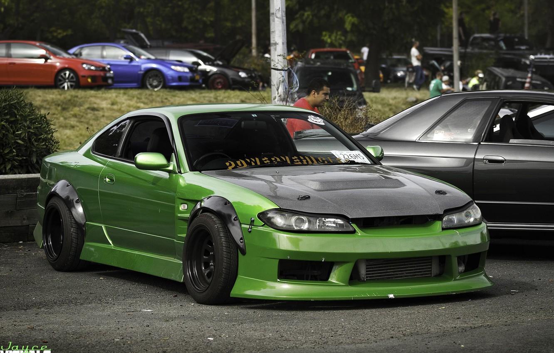 Photo wallpaper green, nissan, turbo, drift, japan, jdm, tuning, silvia, s15, low, powerr