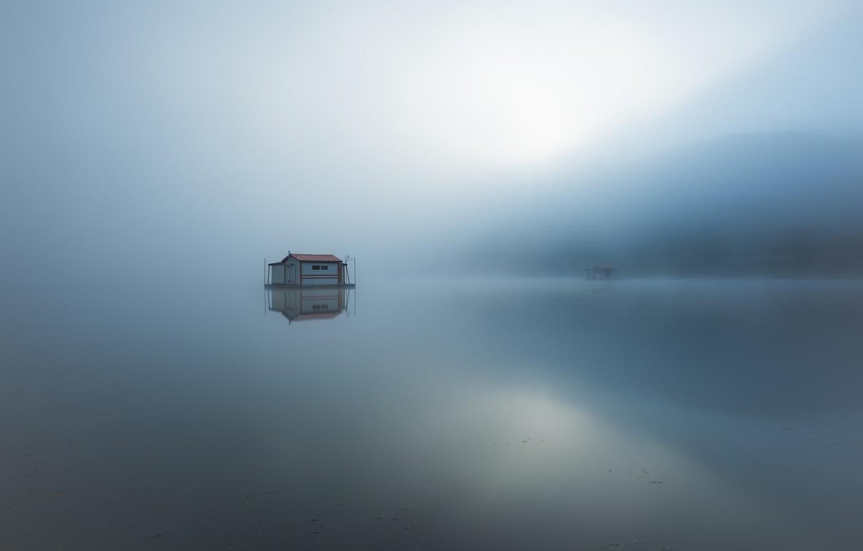 Photo wallpaper fog, lake, morning