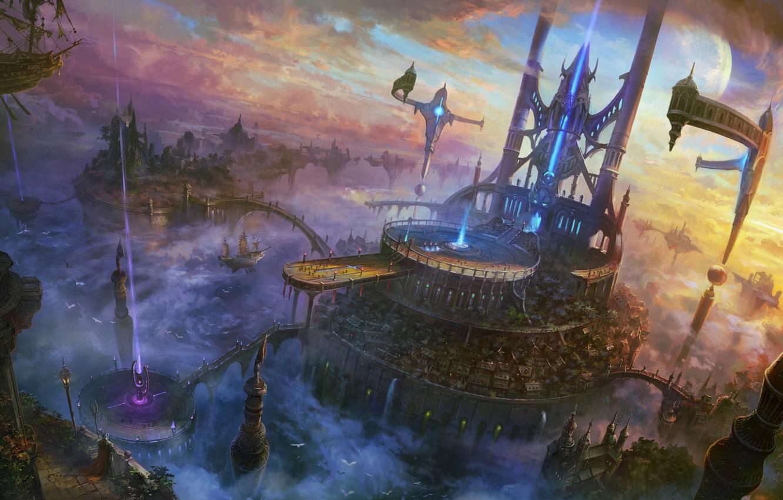 Photo wallpaper clouds, rays, the city, rocks, ship, art, bridges, SHUXING LI, flying, divinity