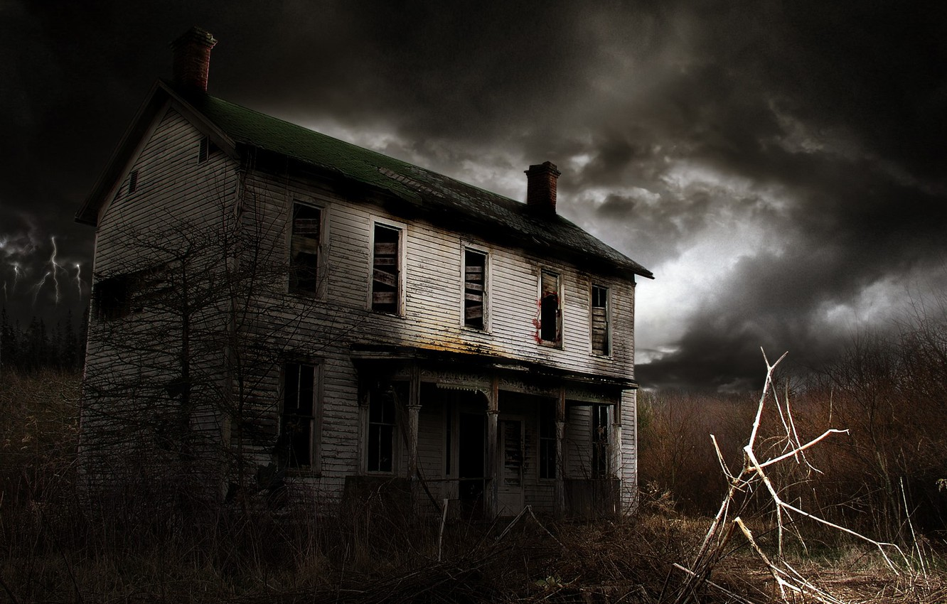 Photo wallpaper the darkness, The sky, House, Windows