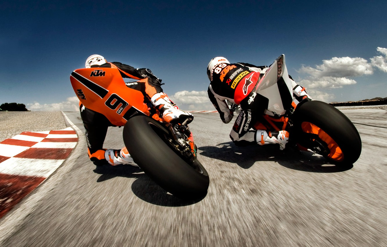 Photo wallpaper motorcycles, speed, track, racers
