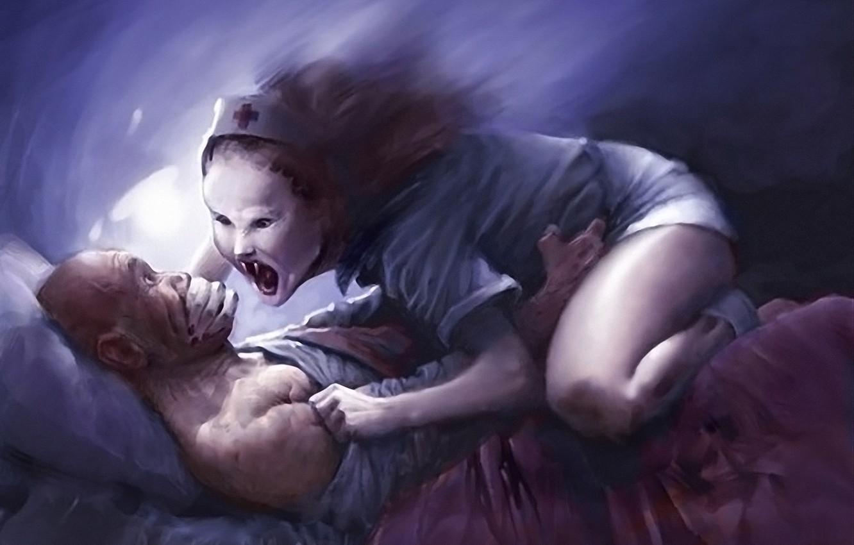 Photo wallpaper sleep, man, Figure, bed, witch, nurse, nightmare