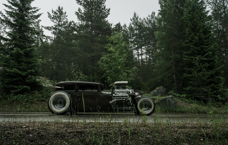 Photo wallpaper Road, Chevrolet, Forest, Wet, Hot Rod, Chevy, Rat Rod, Side, 540ci, Roadside