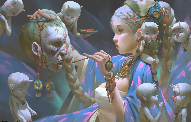 Photo wallpaper girl, face, fantasy, spirit, head, mask, Ghost