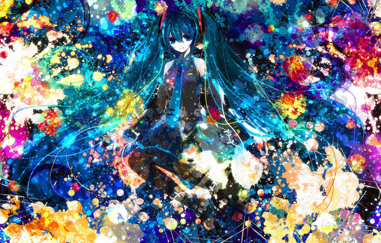 Photo wallpaper paint, anime, Hatsune Miku, Vocaloid, blue hair
