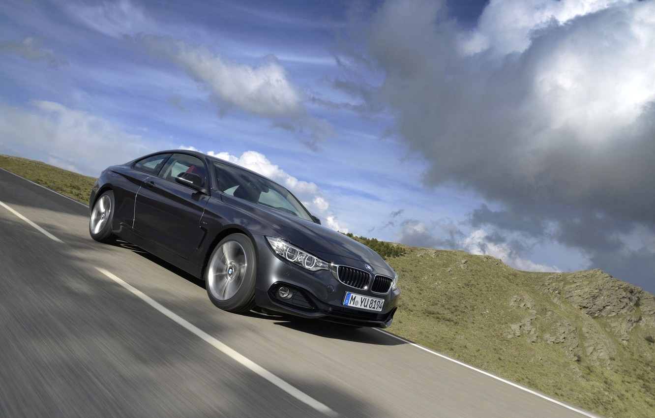 Photo wallpaper road, nature, coupe, BMW, the fourth series