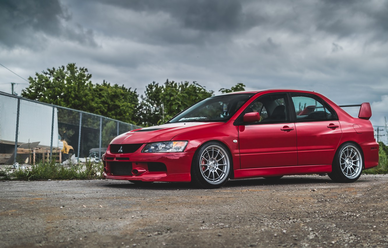 Photo wallpaper Mitsubishi, Lancer, Red, Evo