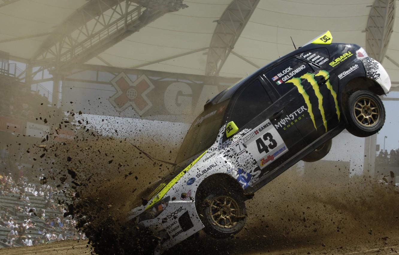 Photo wallpaper flight, earth, Auto, dirt, blow, ken block, subaru, monster, rally, impreza