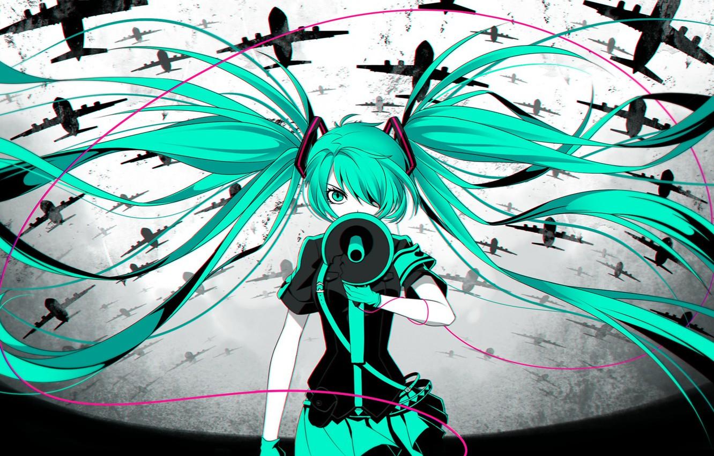 Photo wallpaper girl, anime, art, aircraft, wire, vocaloid, hatsune miku, loudspeaker, rimu of